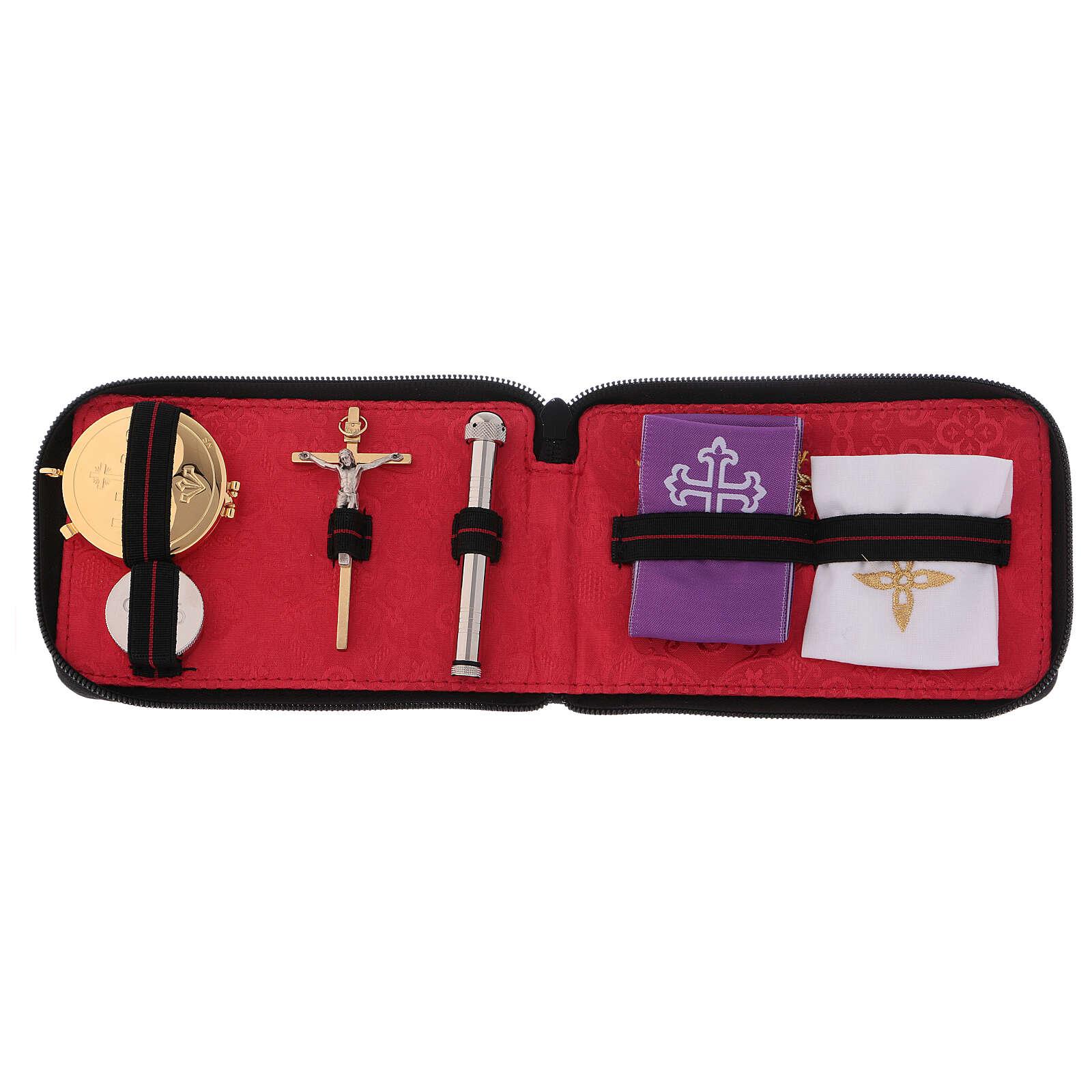 Estuche para viático para celebraciones de cuero verdadero con cremallera interior jacquard rojo 3