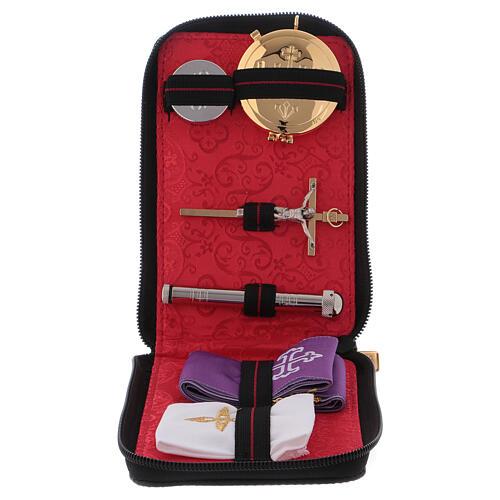 Estuche para viático para celebraciones de cuero verdadero con cremallera interior jacquard rojo 1