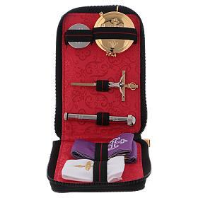 Étui valise-chapelle pour célébrations en cuir véritable intérieur jacquard rouge s1
