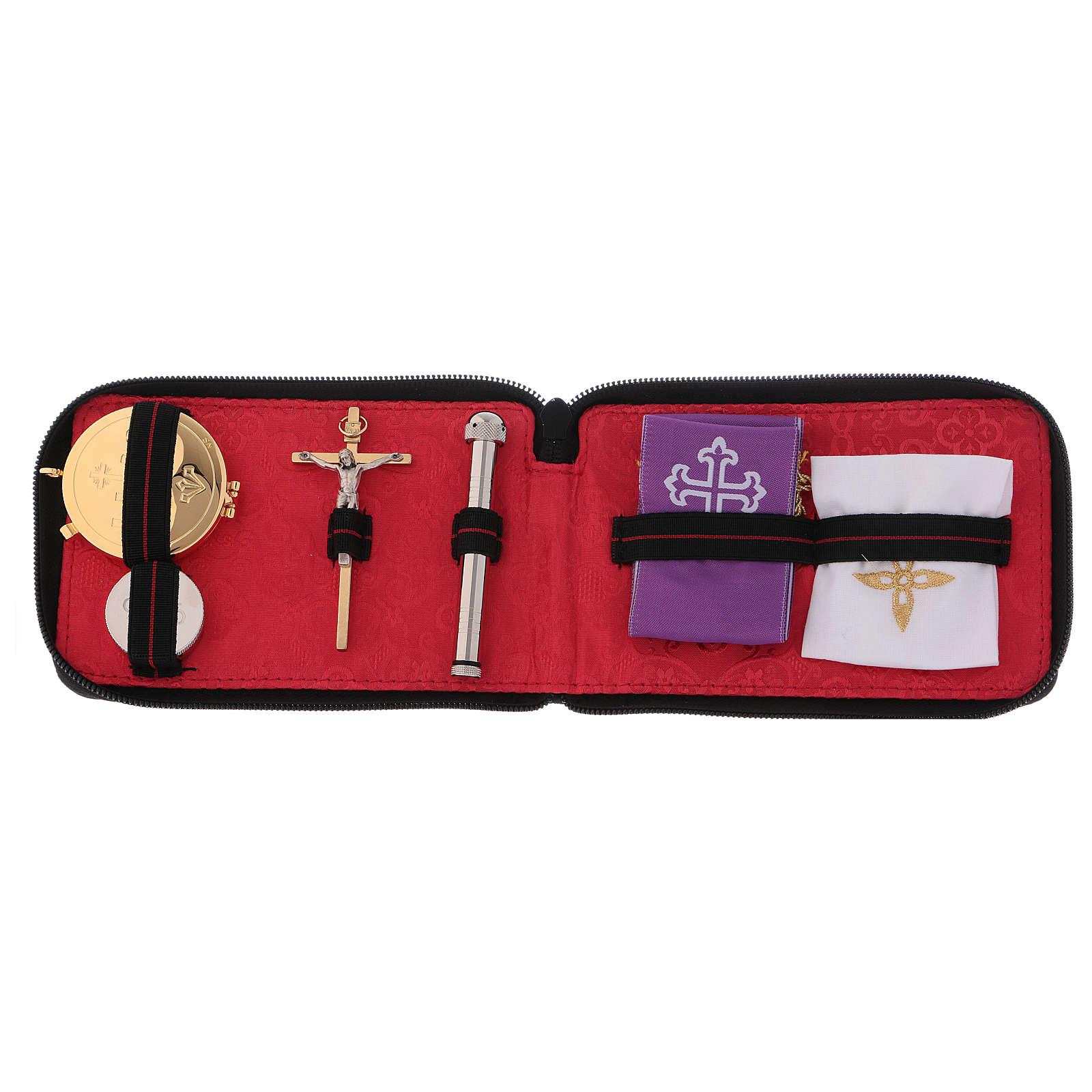 Portaviatico per celebrazioni in vera pelle  con zip interno jacquard rosso 3