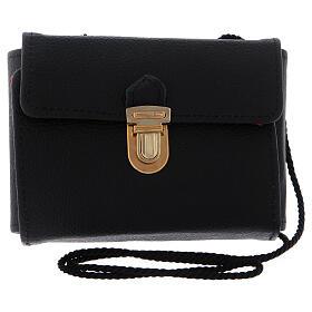 Pyx set with black leather case, snap closure and shoulder strap s4