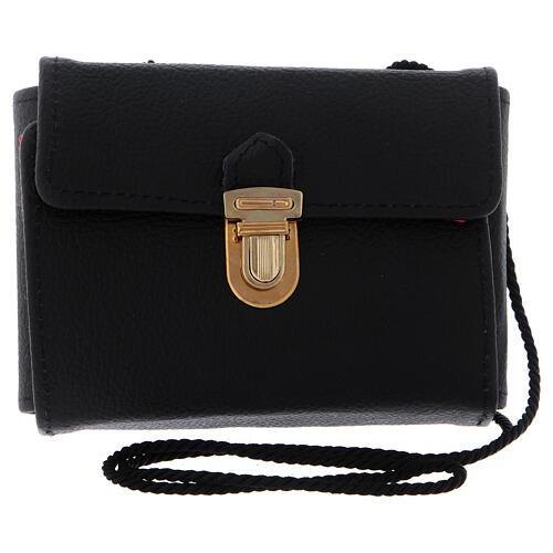 Pyx set with black leather case, snap closure and shoulder strap 4
