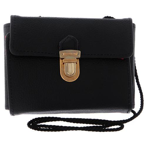 Bolsa tiracolo para celebração couro natural preto com fecho 4