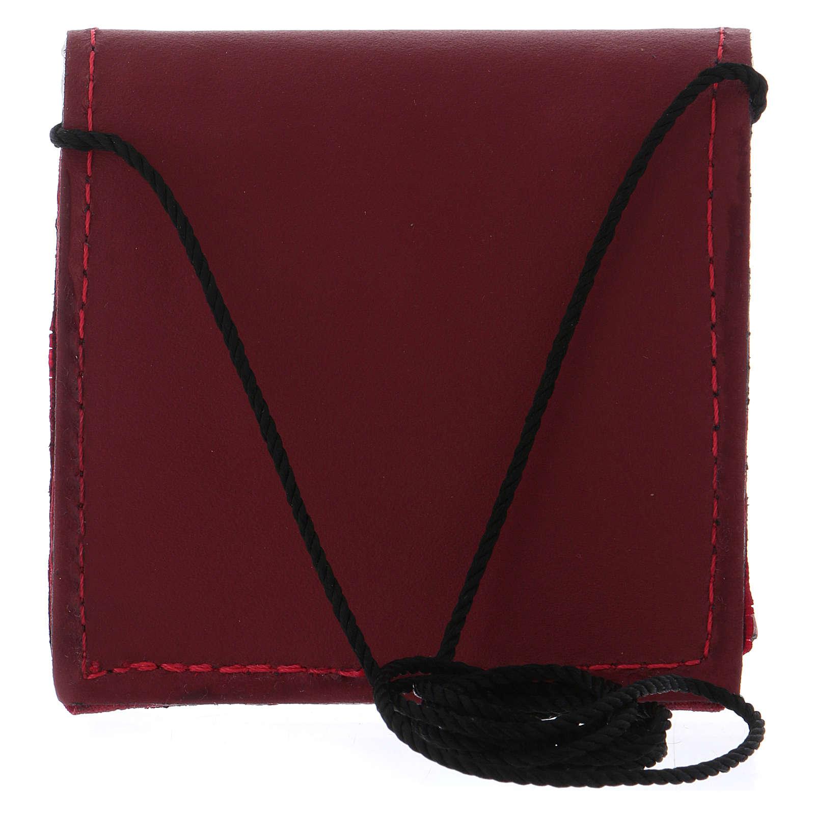 Borsetta portaviatico pelle rossa con bottone nero e tracollina in tessuto 3