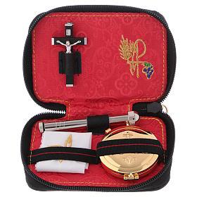 Valises Chapelle: Valise chapelle cuir noir croix métal intérieur jacquard rouge