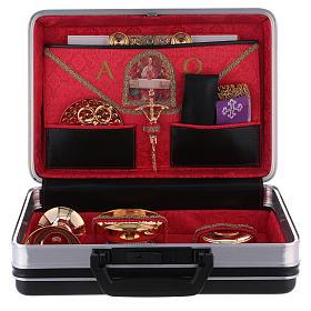 Valigia per celebrazioni in plastica inserti metallo e pelle interno raso rosso s3