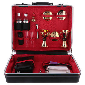 Mass kit with suitcase in plastic and metal, lined with red satin s1