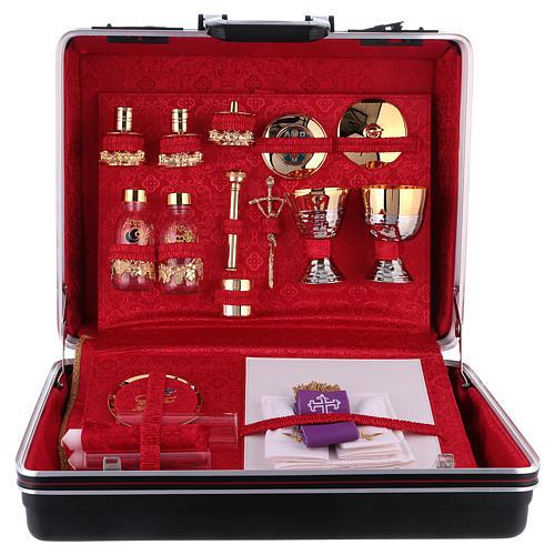 Valigia celebrazioni interno foderato Jacquard rosso pannello portaoggetti estraibile 1