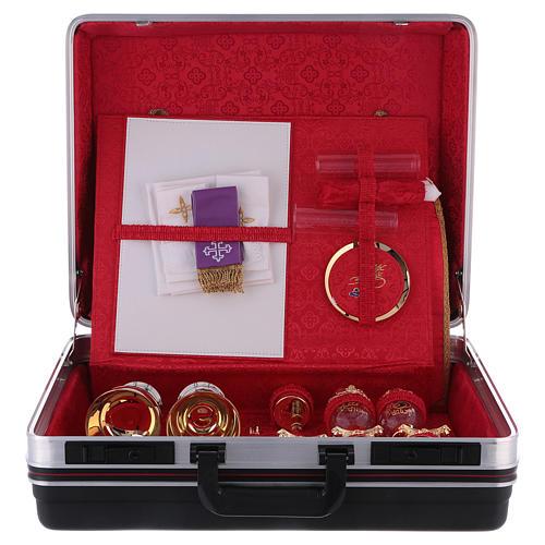 Valigia celebrazioni interno foderato Jacquard rosso pannello portaoggetti estraibile 3