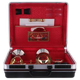 Valigia set da messa in plastica interno raso rosso s3