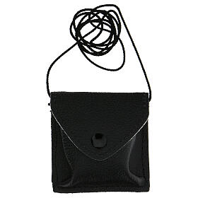 Estuche negro para viático cuero con cuerda s5