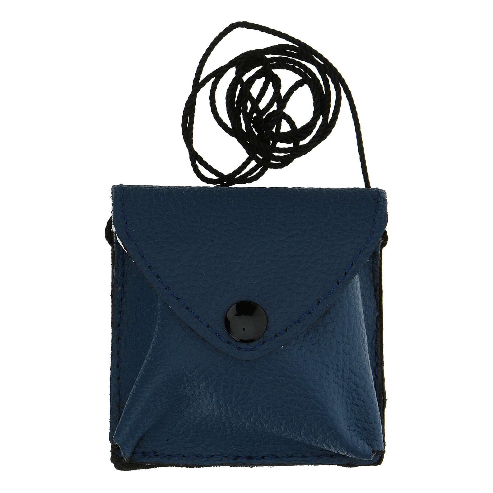 Estuche para viático cuero azul con cuerda 3
