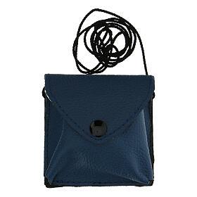 Estuche para viático cuero azul con cuerda s5