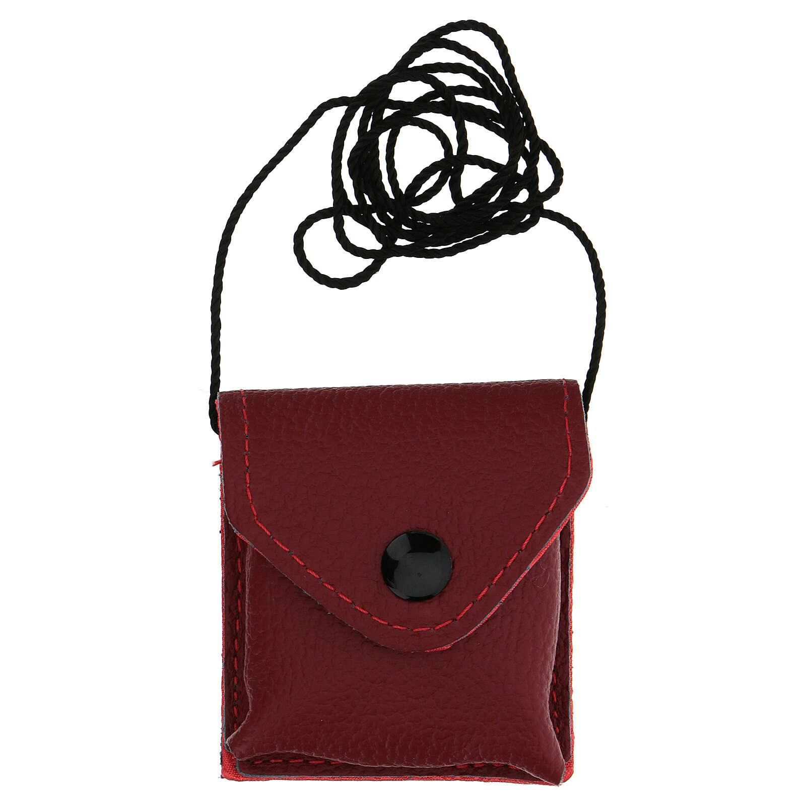 Bolso para viático cuero rojo relicario latón dorado 24k IHS 3