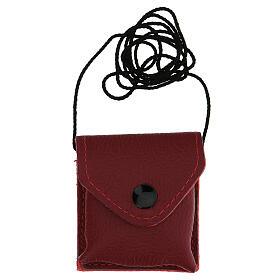 Bolso para viático cuero rojo relicario latón dorado 24k IHS s4
