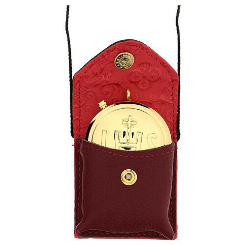 Bolso para viático cuero rojo relicario latón dorado 24k IHS 1