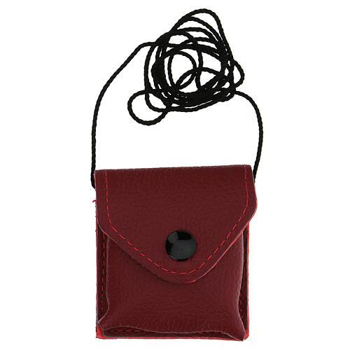 Bolso para viático cuero rojo relicario latón dorado 24k IHS 4