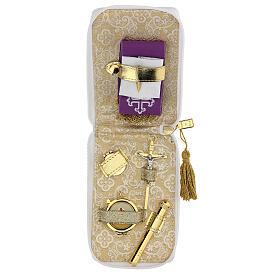 Estuche para viático cuero ecológico blanco aplicaciones oro s1