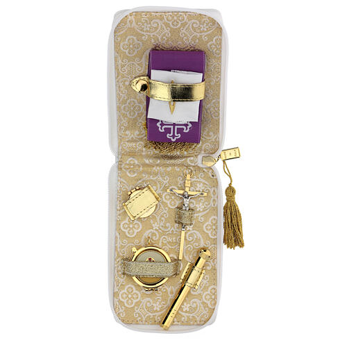 Estuche para viático cuero ecológico blanco aplicaciones oro 1