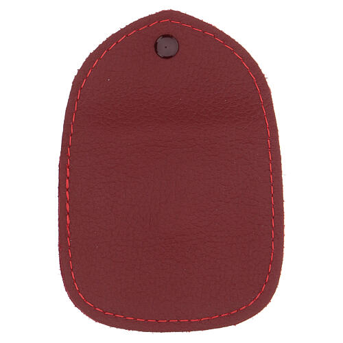 Burgundy leather rosary case made in Italy 3