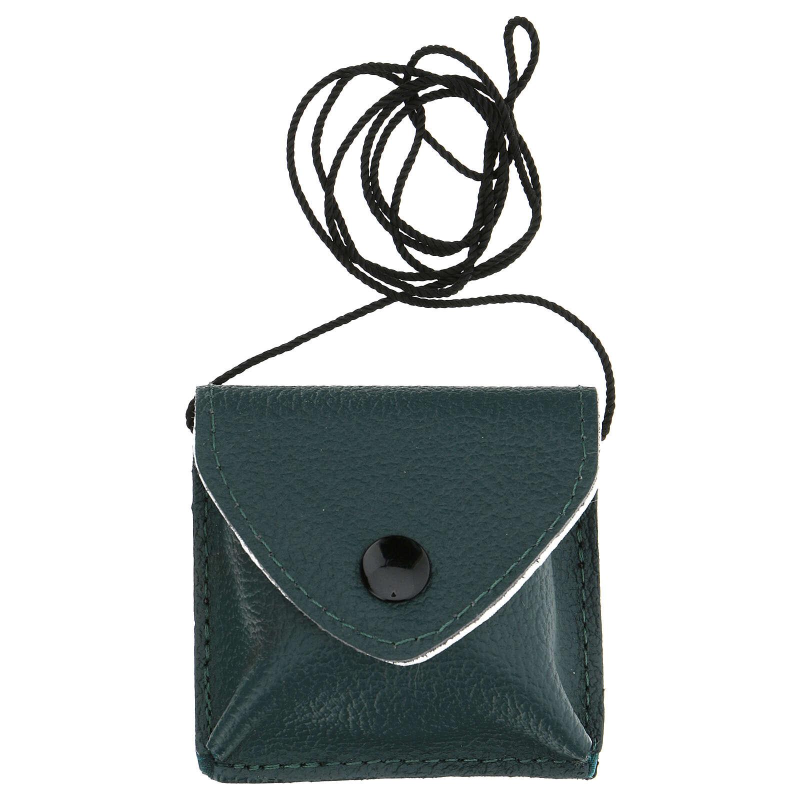 Estuche para viático con cuerda verdadero cuero verde oscuro 3