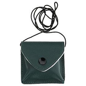 Estuche para viático con cuerda verdadero cuero verde oscuro s5
