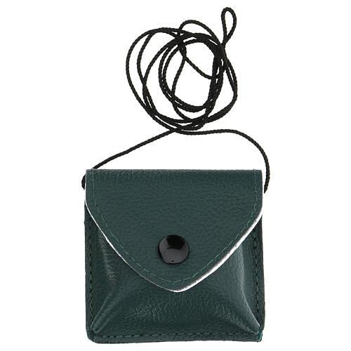 Estuche para viático con cuerda verdadero cuero verde oscuro 5