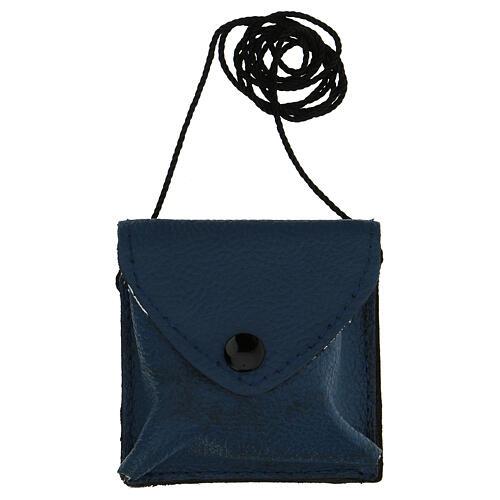 Estuche para relicario azul oscuro verdadero cuero relicario motivo IHS 5
