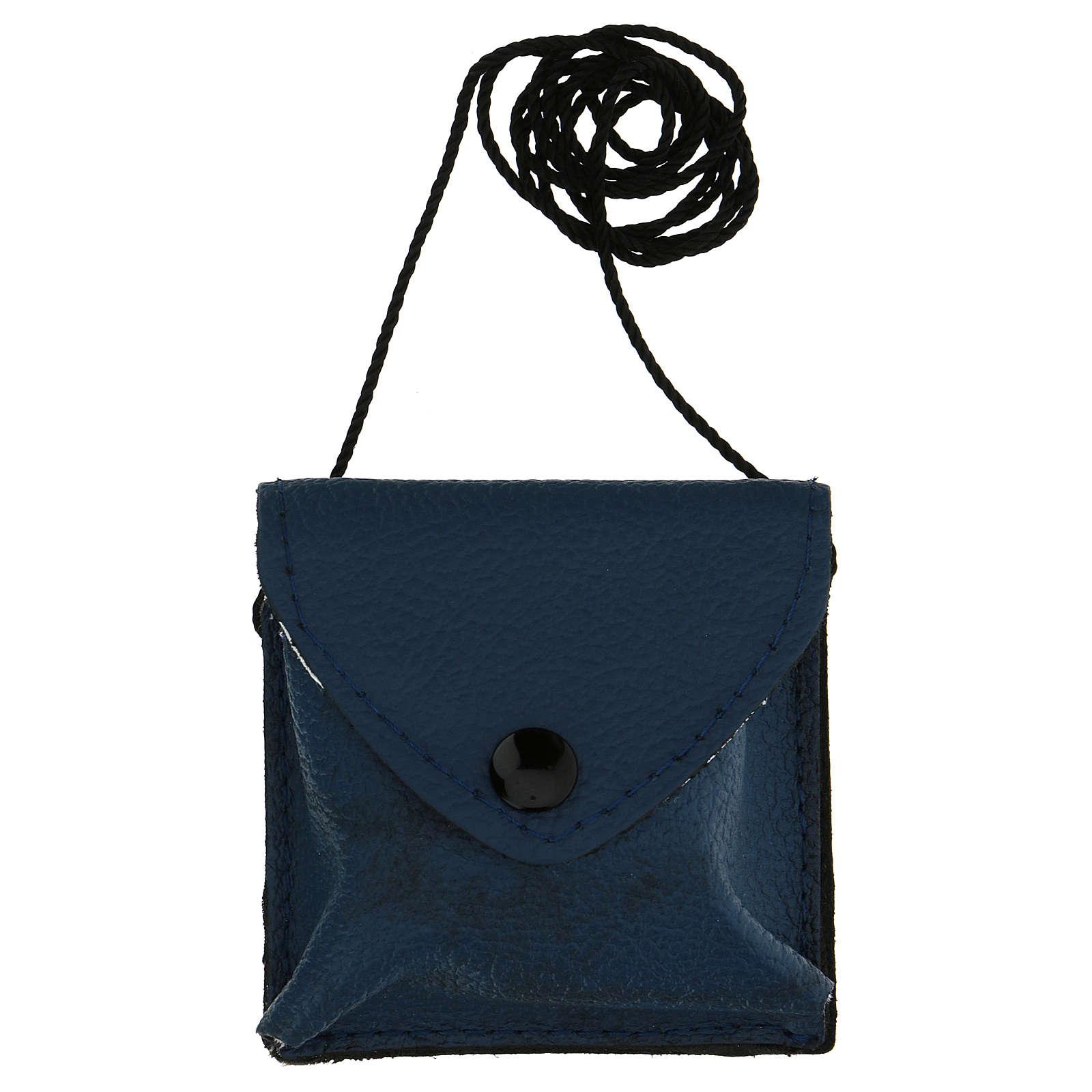 Astuccino portateca blu scuro vera pelle teca disegno IHS 3