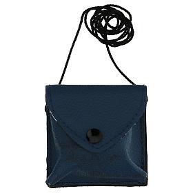 Astuccino portateca blu scuro vera pelle teca disegno IHS s5