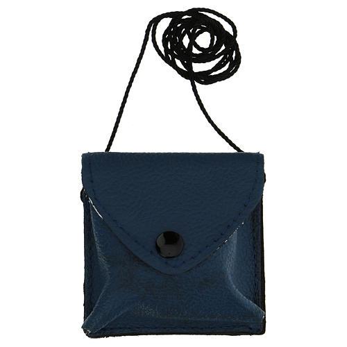 Astuccino portateca blu scuro vera pelle teca disegno IHS 5