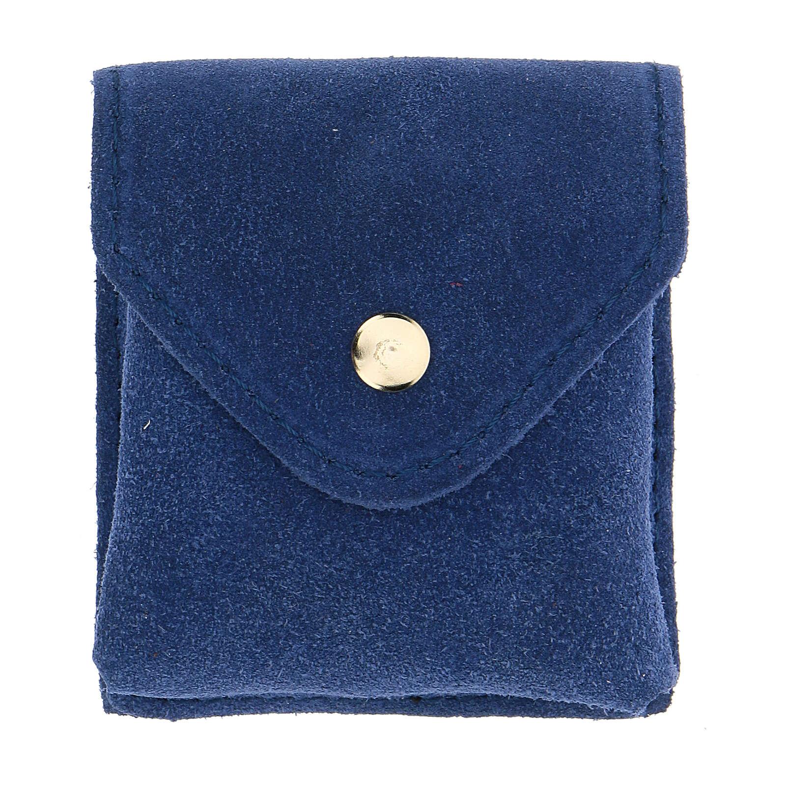 Estuche para relicario ante azul relicario oro IHS botón 3