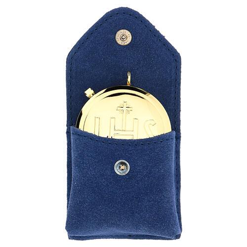 Estuche para relicario ante azul relicario oro IHS botón 1