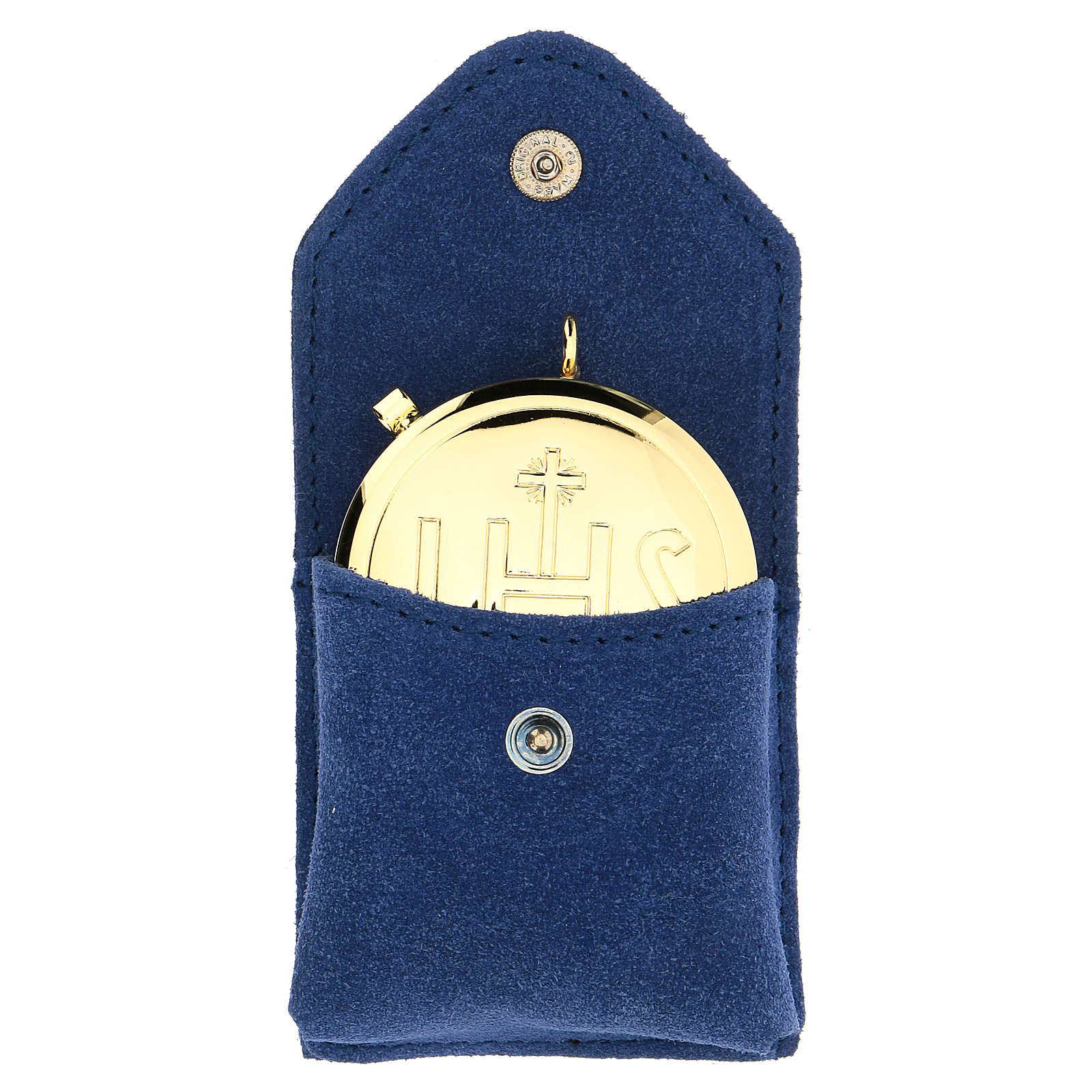 Astuccio portateca camoscio blu teca oro IHS bottone 3