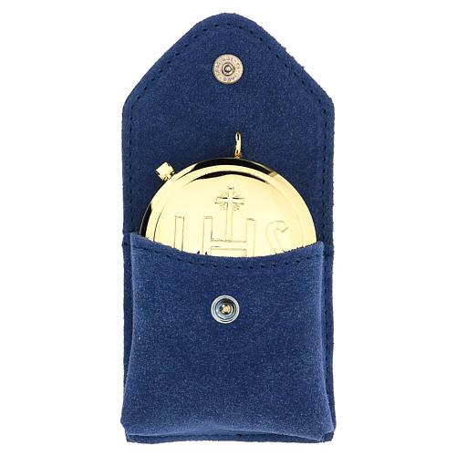 Astuccio portateca camoscio blu teca oro IHS bottone 1