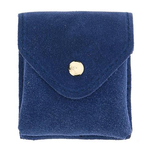 Astuccio portateca camoscio blu teca oro IHS bottone 4