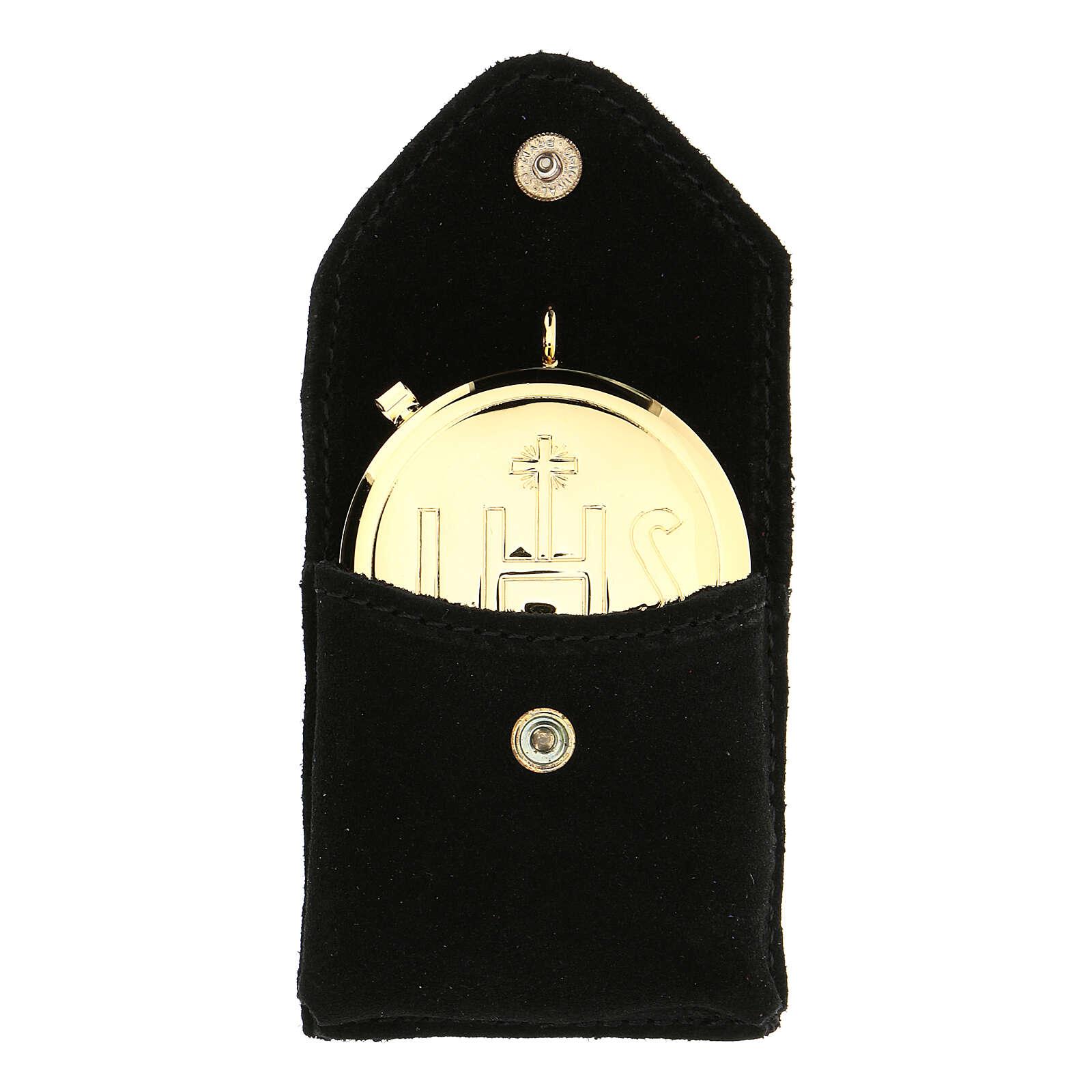 Estuche para relicario ante negro botón automático relicario dorado 3