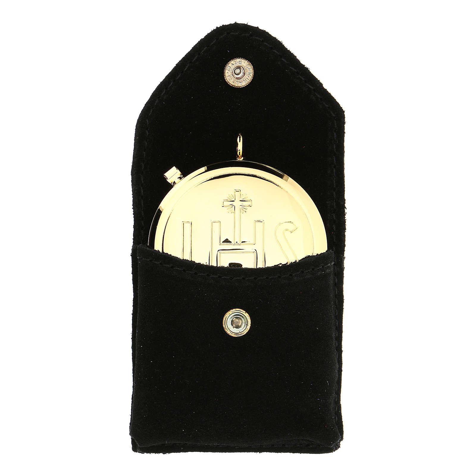 Astuccino portateca camoscio nero bottone automatico teca dorata 3