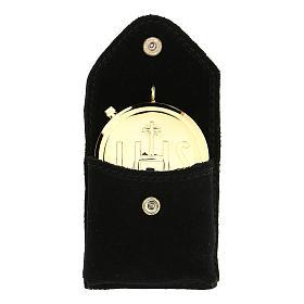 Astuccino portateca camoscio nero bottone automatico teca dorata s1