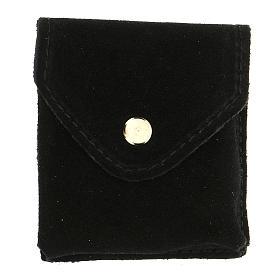 Astuccino portateca camoscio nero bottone automatico teca dorata s4