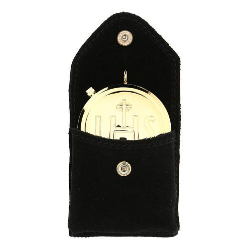 Astuccino portateca camoscio nero bottone automatico teca dorata 1
