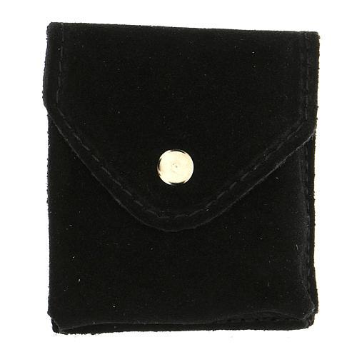 Astuccino portateca camoscio nero bottone automatico teca dorata 4