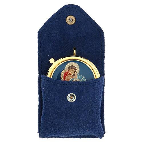 Estuche para viático azul ante relicario placa Sagrada Familia 1