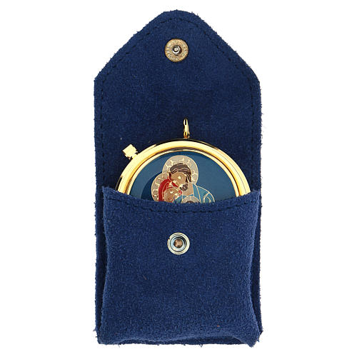 Astuccio portaviatico blu camoscio teca placca Sacra Famiglia 1