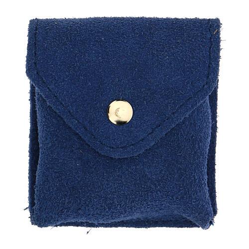 Astuccio portaviatico blu camoscio teca placca Sacra Famiglia 4