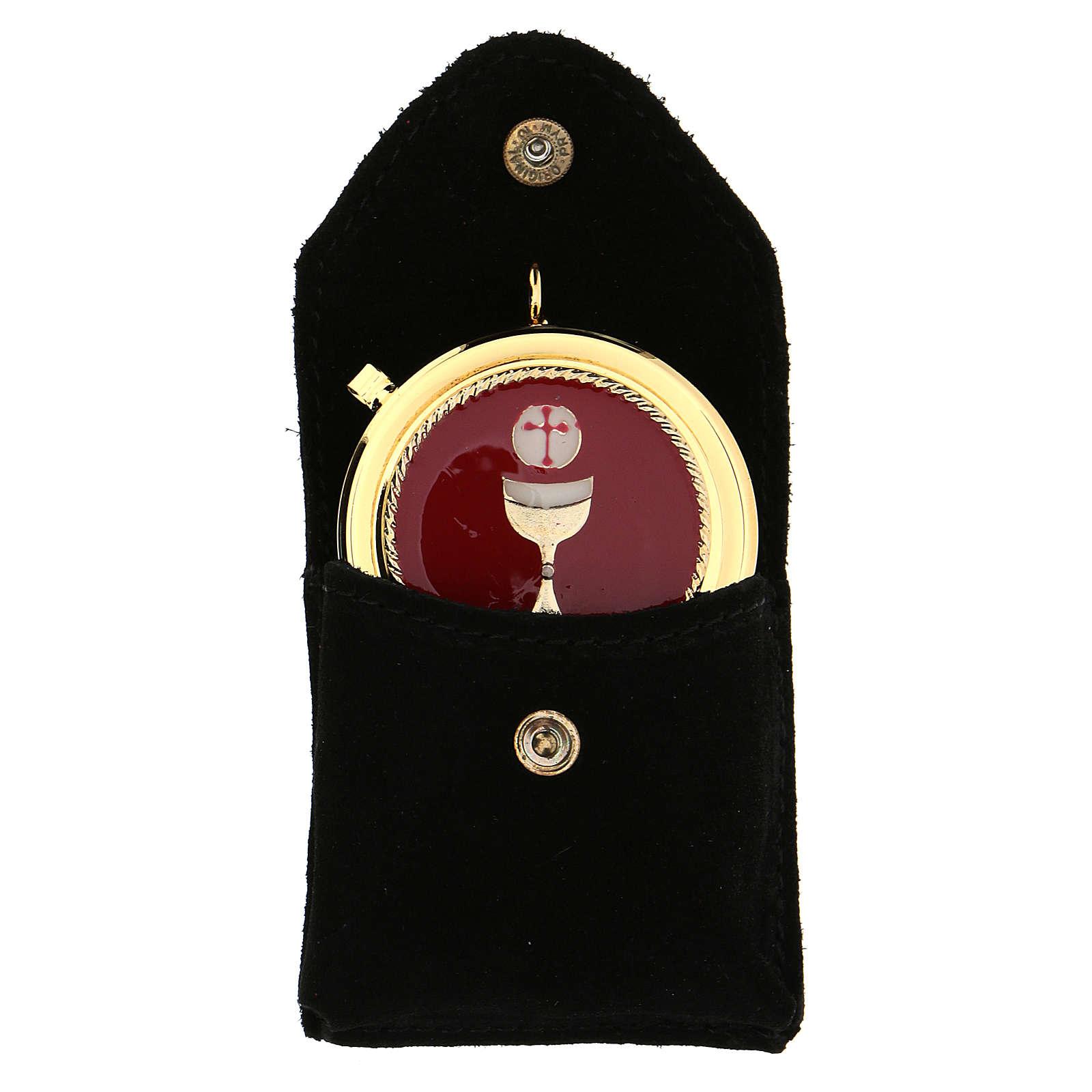 Astuccino portateca camoscio nero teca placca Eucarestia 3