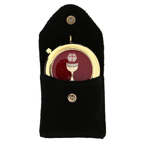 Astuccino portateca camoscio nero teca placca Eucarestia 1