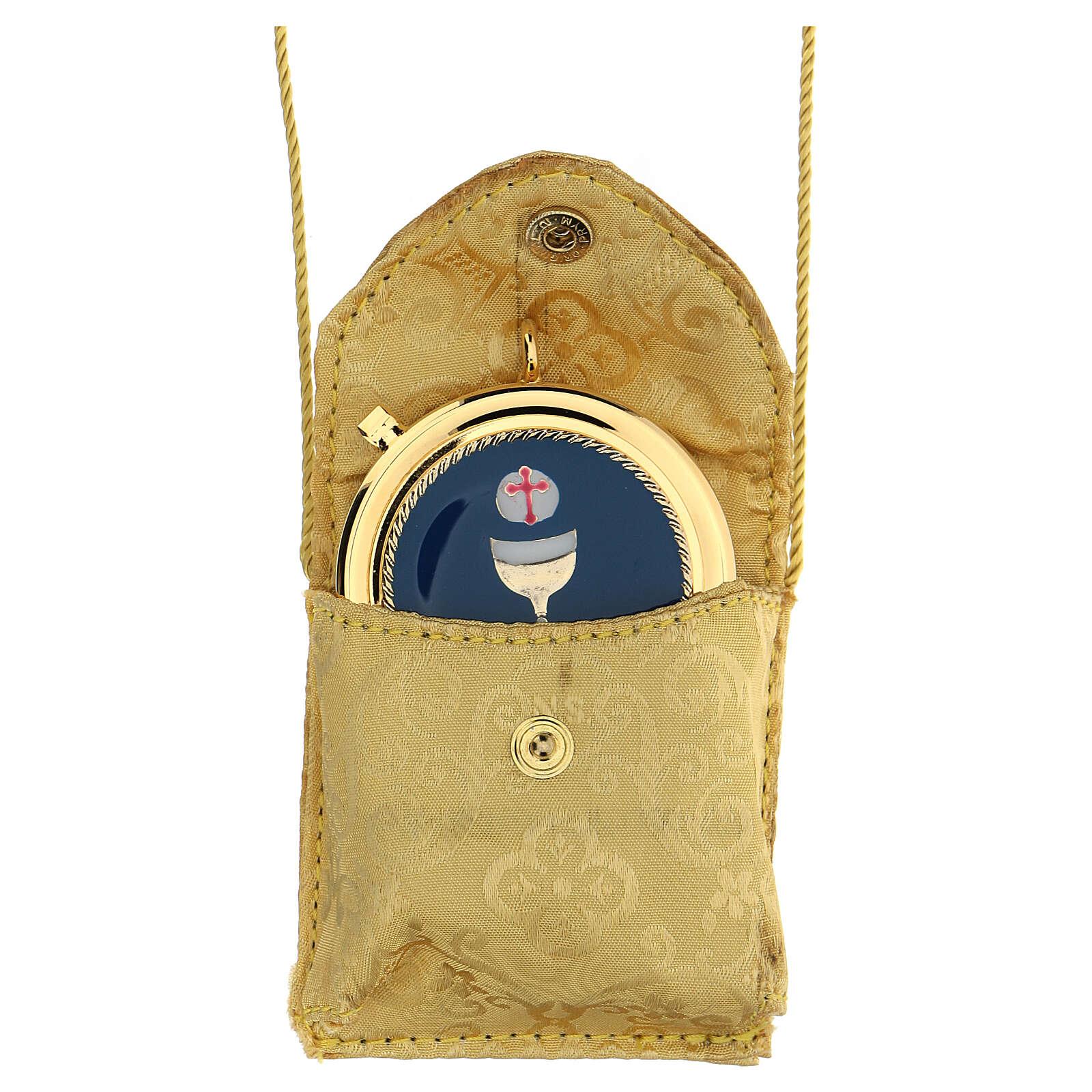 Estojo para viático amarelo ouro caixa placa Comunhão 3