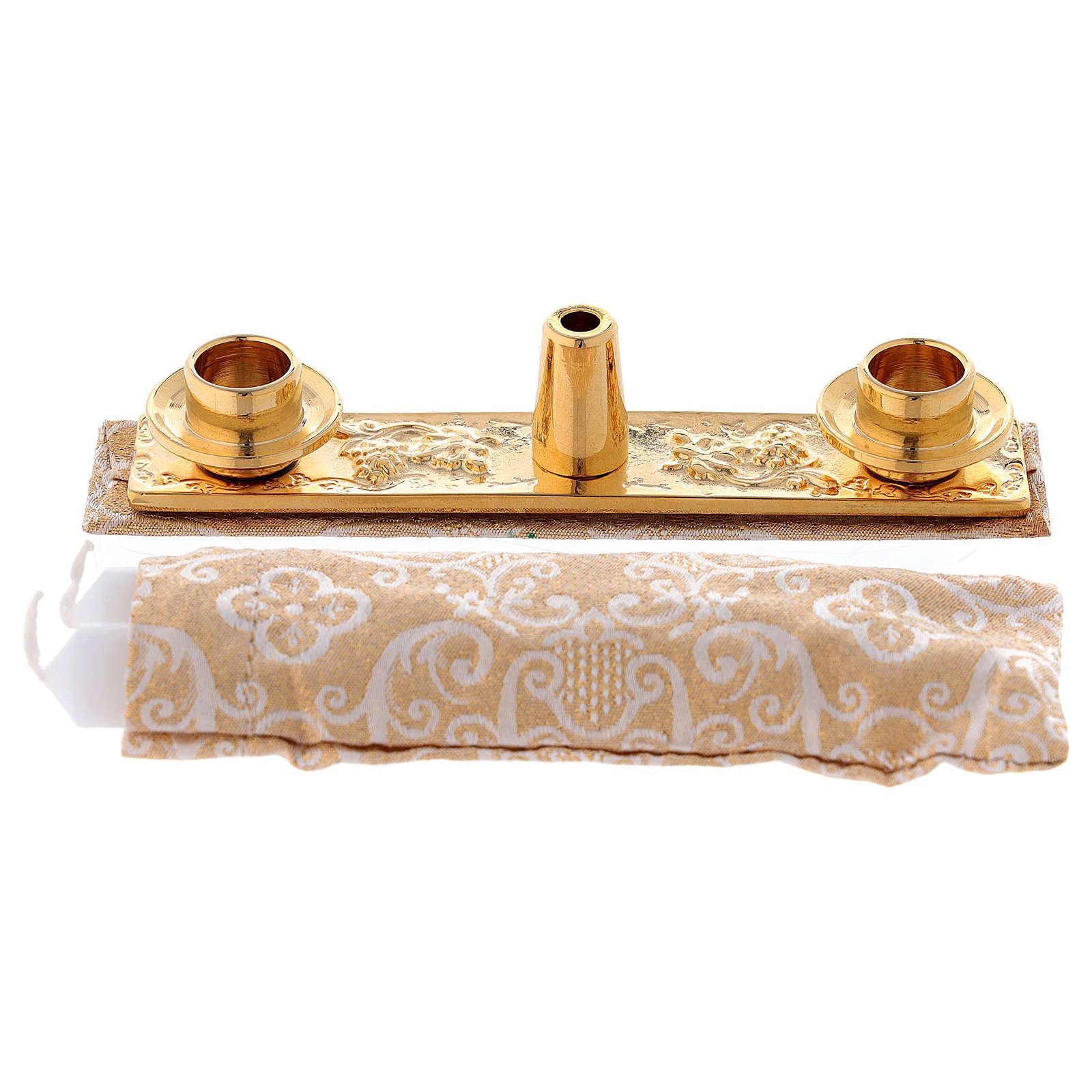 Borsello per Battesimo vera pelle jacquard oro 3