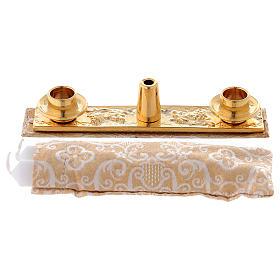Borsello per Battesimo vera pelle jacquard oro s5